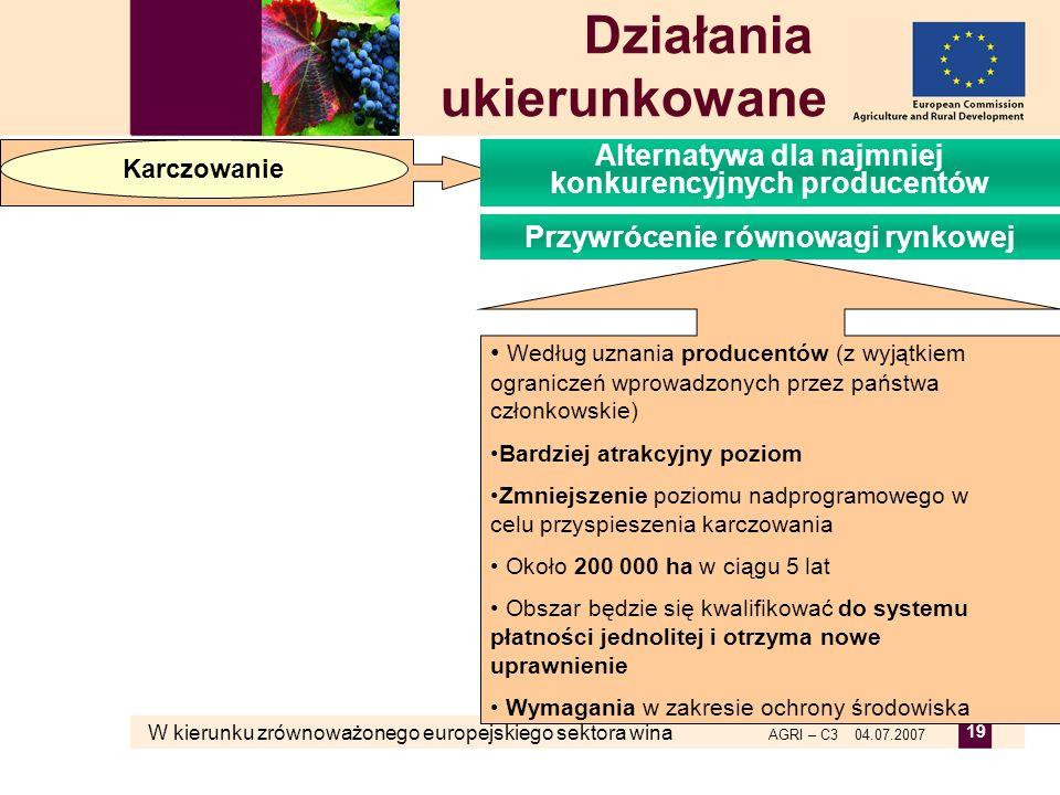 W kierunku zrównoważonego europejskiego sektora wina AGRI – C3 04.07.2007 19 Według uznania producentów (z wyjątkiem ograniczeń wprowadzonych przez pa