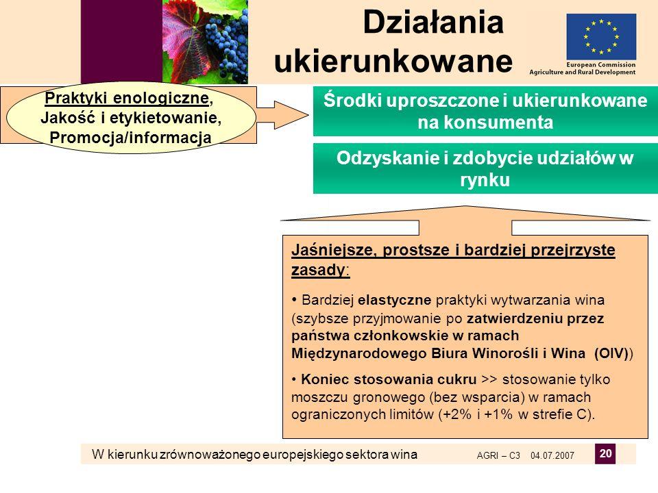 W kierunku zrównoważonego europejskiego sektora wina AGRI – C3 04.07.2007 20 Jaśniejsze, prostsze i bardziej przejrzyste zasady: Bardziej elastyczne p