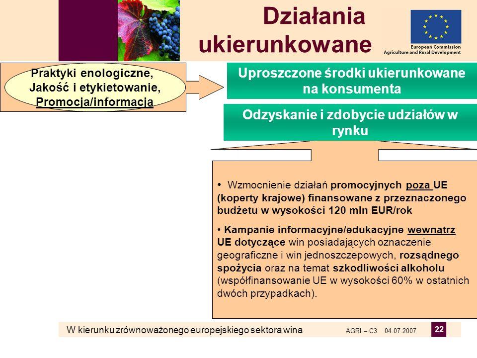 W kierunku zrównoważonego europejskiego sektora wina AGRI – C3 04.07.2007 22 Wzmocnienie działań promocyjnych poza UE (koperty krajowe) finansowane z
