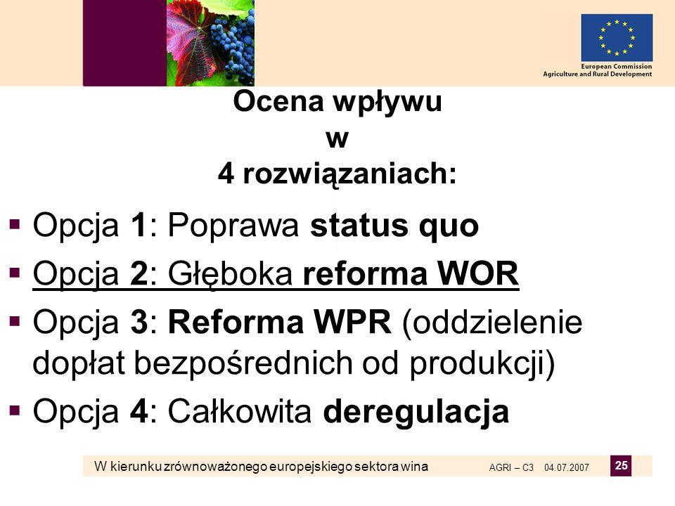 W kierunku zrównoważonego europejskiego sektora wina AGRI – C3 04.07.2007 25 Ocena wpływu w 4 rozwiązaniach: Opcja 1: Poprawa status quo Opcja 2: Głęb