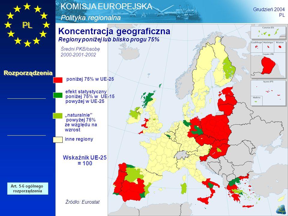 Polityka regionalna KOMISJA EUROPEJSKA Grudzień 2004 PL Rozporządzenia poniżej 75% w UE-25 efekt statystyczny poniżej 75% w UE-15 powyżej w UE-25 natu