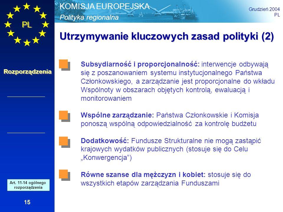 Polityka regionalna KOMISJA EUROPEJSKA Grudzień 2004 PL Rozporządzenia 15 Utrzymywanie kluczowych zasad polityki (2) Subsydiarność i proporcjonalność: