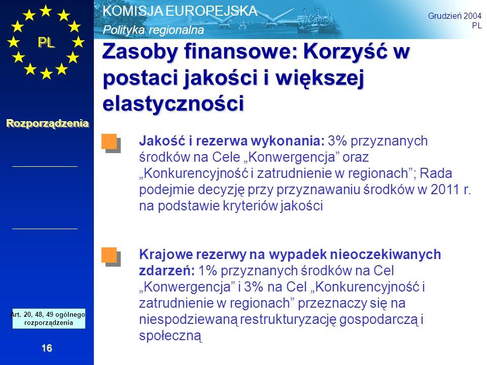 Polityka regionalna KOMISJA EUROPEJSKA Grudzień 2004 PL Rozporządzenia 16 Zasoby finansowe: Korzyść w postaci jakości i większej elastyczności Jakość