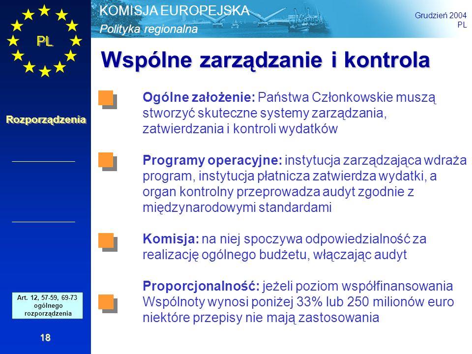 Polityka regionalna KOMISJA EUROPEJSKA Grudzień 2004 PL Rozporządzenia 18 Wspólne zarządzanie i kontrola Art. 42 - 46 and 52 - 54 Gen.Reg. Ogólne zało