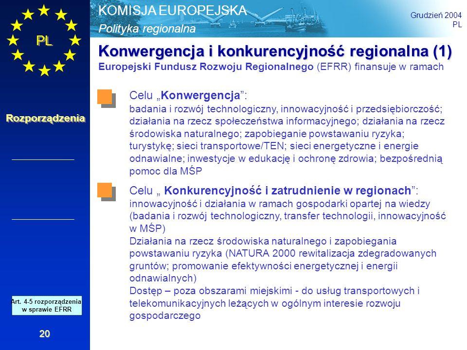 Polityka regionalna KOMISJA EUROPEJSKA Grudzień 2004 PL Rozporządzenia 20 Konwergencja i konkurencyjność regionalna (1) Europejski Fundusz Rozwoju Reg