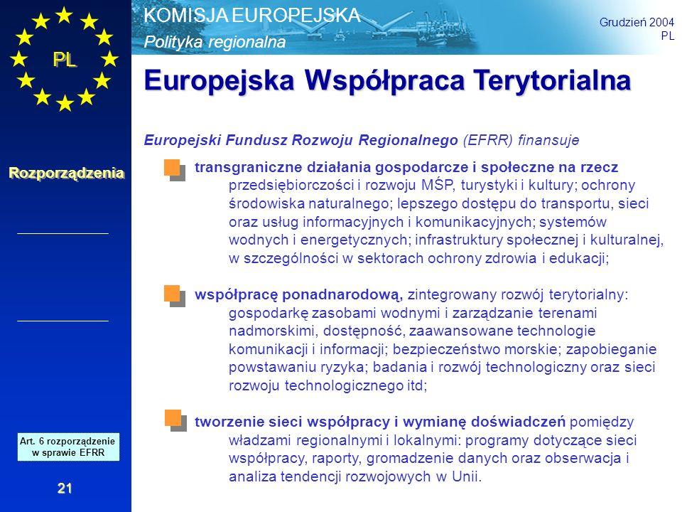 Polityka regionalna KOMISJA EUROPEJSKA Grudzień 2004 PL Rozporządzenia 21 transgraniczne działania gospodarcze i społeczne na rzecz przedsiębiorczości