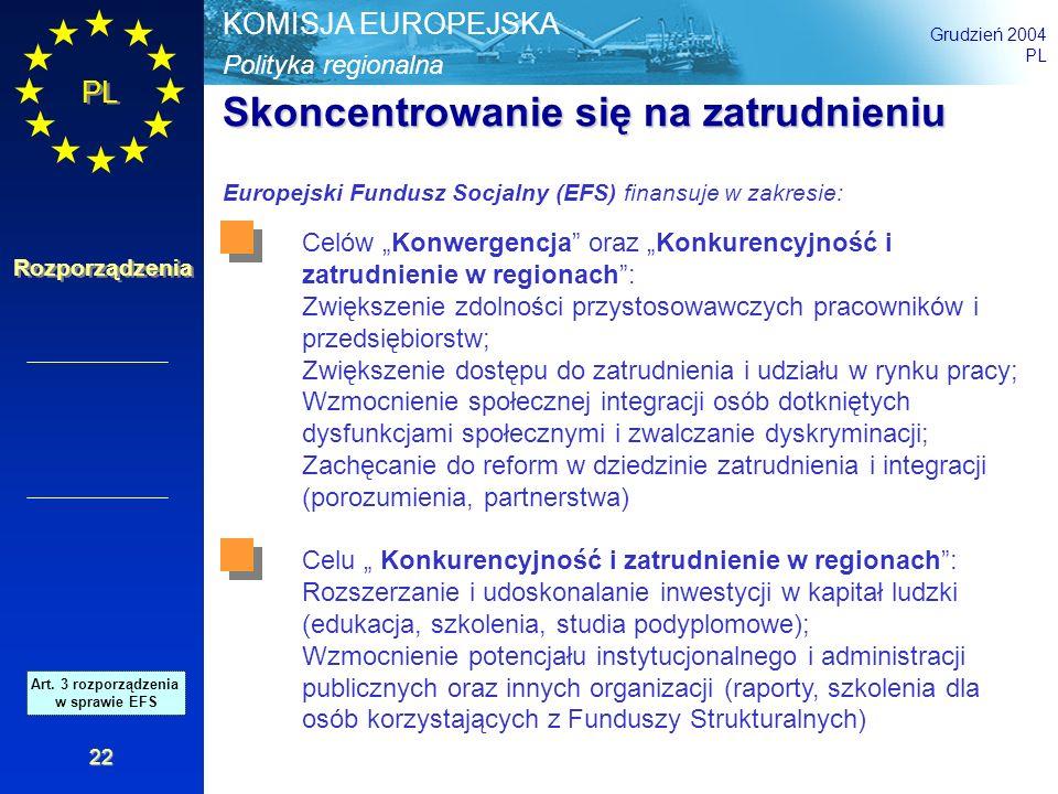 Polityka regionalna KOMISJA EUROPEJSKA Grudzień 2004 PL Rozporządzenia 22 Skoncentrowanie się na zatrudnieniu Europejski Fundusz Socjalny (EFS) finans