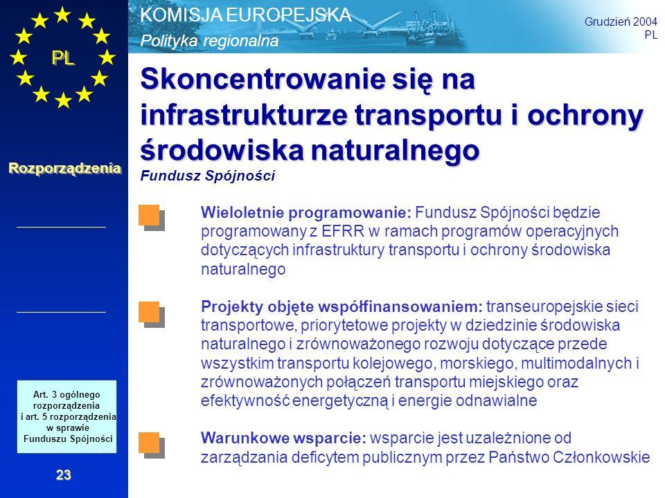 Polityka regionalna KOMISJA EUROPEJSKA Grudzień 2004 PL Rozporządzenia 23 Skoncentrowanie się na infrastrukturze transportu i ochrony środowiska natur