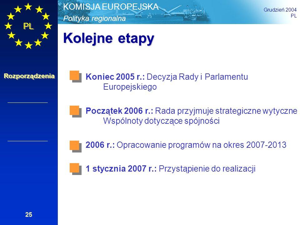 Polityka regionalna KOMISJA EUROPEJSKA Grudzień 2004 PL Rozporządzenia 25 Kolejne etapy Koniec 2005 r.: Decyzja Rady i Parlamentu Europejskiego Począt