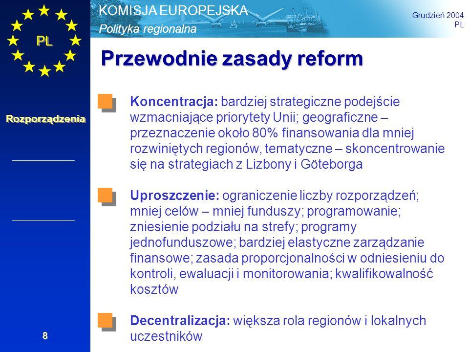 Polityka regionalna KOMISJA EUROPEJSKA Grudzień 2004 PL Rozporządzenia 19 Zmiana wskaźników udziałów Wspólnoty Wskaźniki udziału zmieniają się w zależności od charakteru problemów gospodarczych, społecznych i terytorialnych, są wyliczane jako udział w stosunku do wydatków publicznych: 85% na Fundusz Spójności; regiony ultraperyferyjne i odległe wyspy greckie 75% na programy realizowane w ramach Celu Konwergencja (wyjątek: 80% dla Państw Członkowskich objętych Funduszem Spójności) 50% na programy realizowane w ramach Celu Konkurencyjność i zatrudnienie w regionach 75% na programy realizowane w ramach Celu Europejska Współpraca Terytorialna +10%na współpracę międzyregionalną +5% (maksymalnie 60%) na programy realizowane w ramach Celu Konkurencyjność i zatrudnienie w regionach dla obszarów o naturalnych utrudnieniach (wyspy, obszary górskie, obszary o małej gęstości zaludnienia i regiony, które były granicami zewnętrznymi UE przed 30 kwietnia 2004 r.) Art.