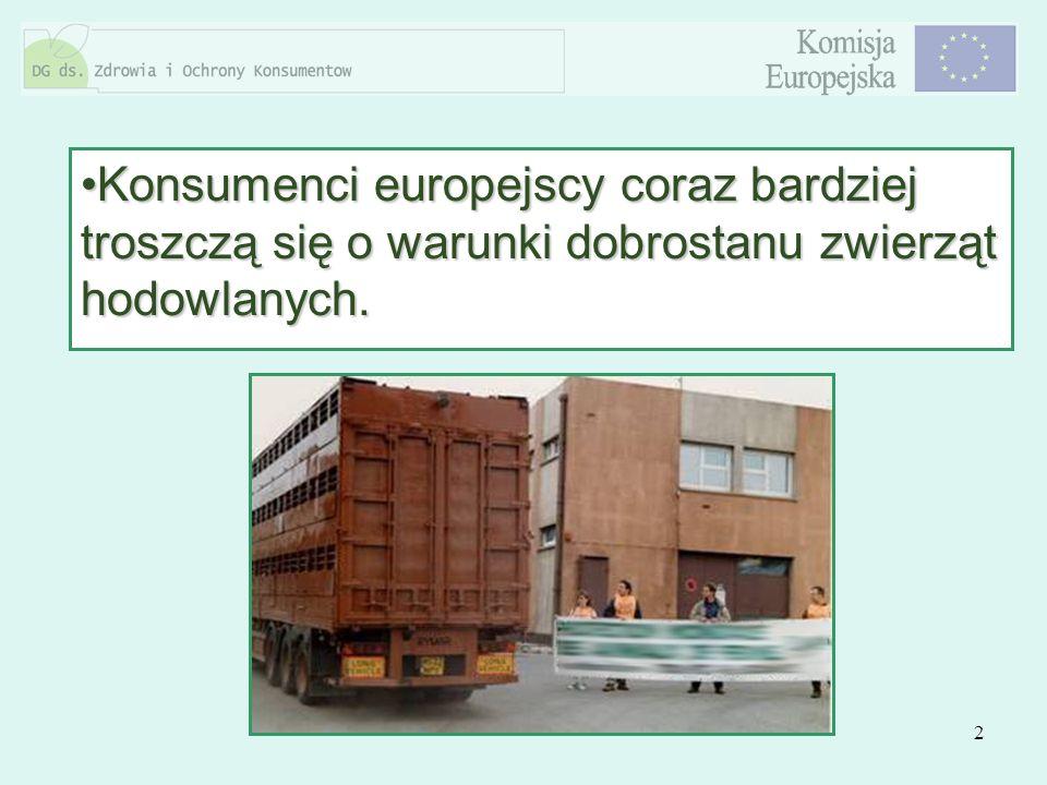 2 Konsumenci europejscy coraz bardziej troszczą się o warunki dobrostanu zwierząt hodowlanych.Konsumenci europejscy coraz bardziej troszczą się o waru