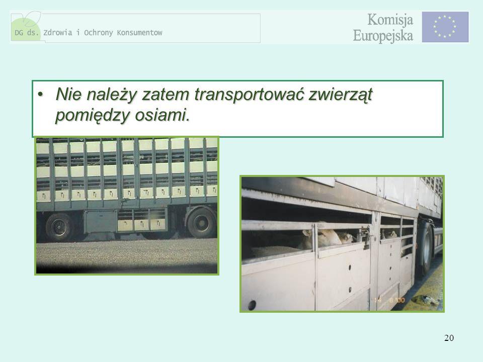 20 Nie należy zatem transportować zwierząt pomiędzy osiami.Nie należy zatem transportować zwierząt pomiędzy osiami.