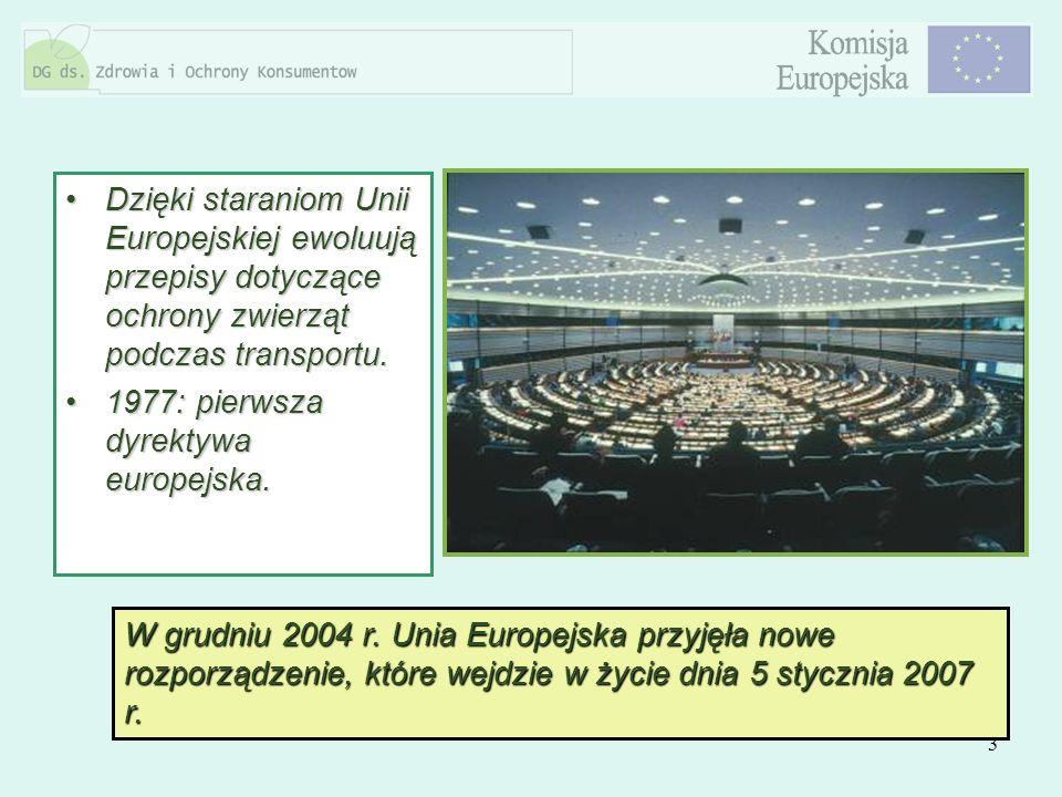 3 Dzięki staraniom Unii Europejskiej ewoluują przepisy dotyczące ochrony zwierząt podczas transportu.Dzięki staraniom Unii Europejskiej ewoluują przep