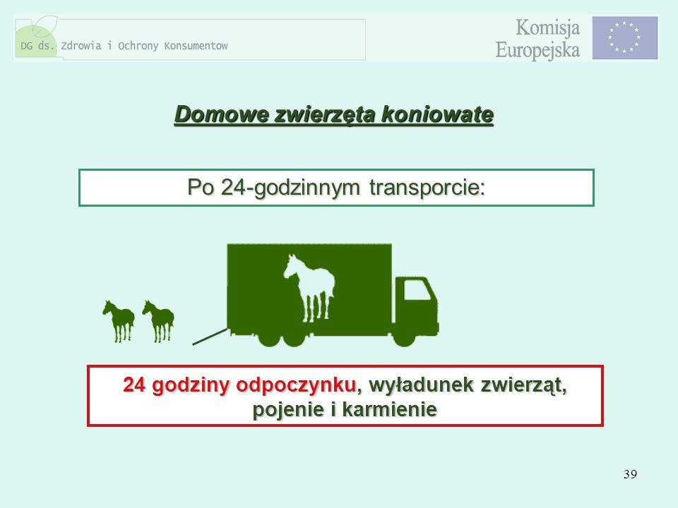 39 Domowe zwierzęta koniowate Po 24-godzinnym transporcie: 24 godziny odpoczynku, wyładunek zwierząt, pojenie i karmienie