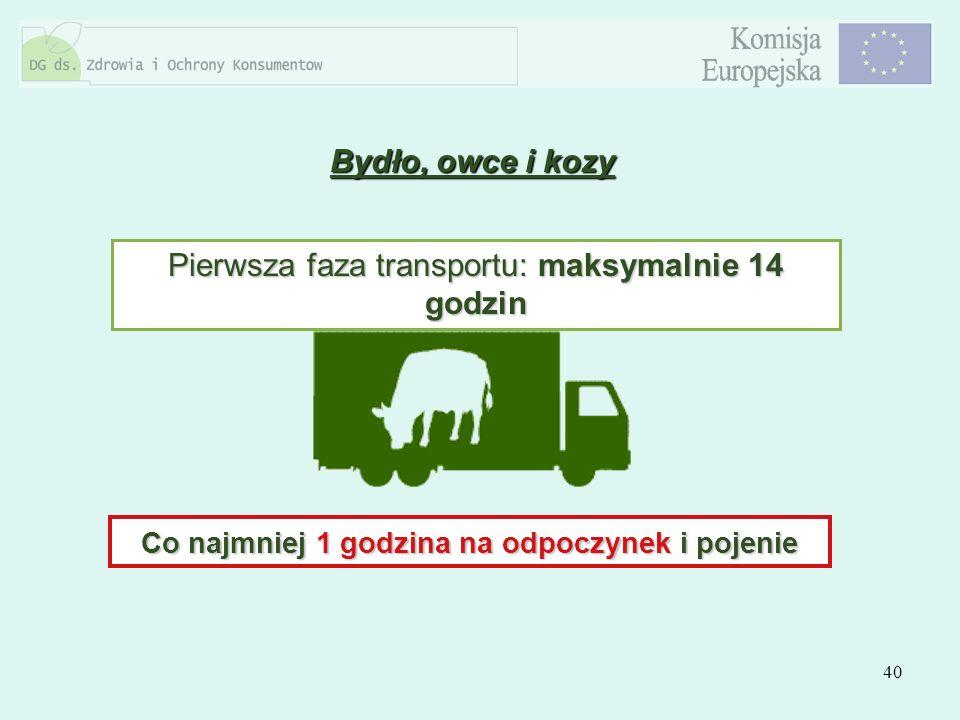 40 Bydło, owce i kozy Pierwsza faza transportu: maksymalnie 14 godzin Co najmniej 1 godzina na odpoczynek i pojenie