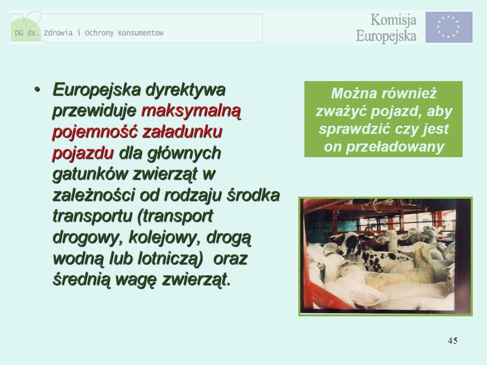 45 Europejska dyrektywa przewiduje maksymalną pojemność załadunku pojazdu dla głównych gatunków zwierząt w zależności od rodzaju środka transportu (tr