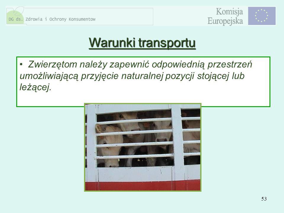 53 Zwierzętom należy zapewnić odpowiednią przestrzeń umożliwiającą przyjęcie naturalnej pozycji stojącej lub leżącej. Warunki transportu