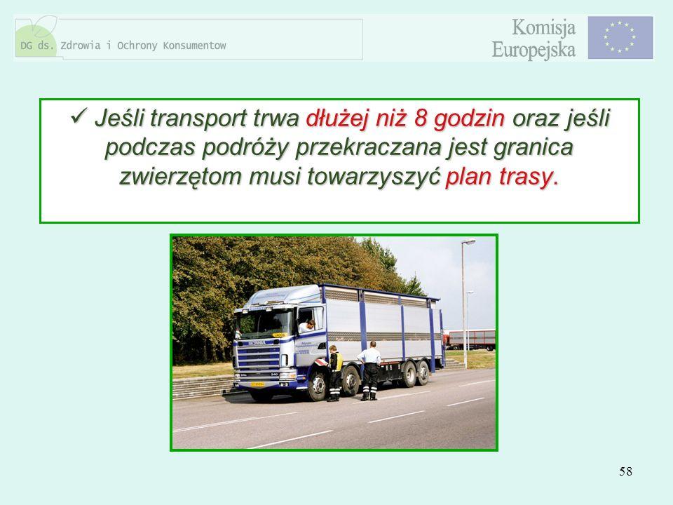 58 Jeśli transport trwa dłużej niż 8 godzin oraz jeśli podczas podróży przekraczana jest granica zwierzętom musi towarzyszyć plan trasy. Jeśli transpo