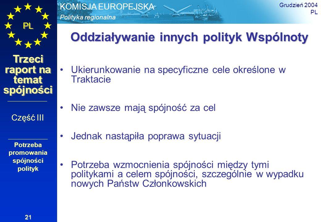 Polityka regionalna KOMISJA EUROPEJSKA PL Trzeci raport na temat spójności Grudzień 2004 PL 21 Oddziaływanie innych polityk Wspólnoty Ukierunkowanie n