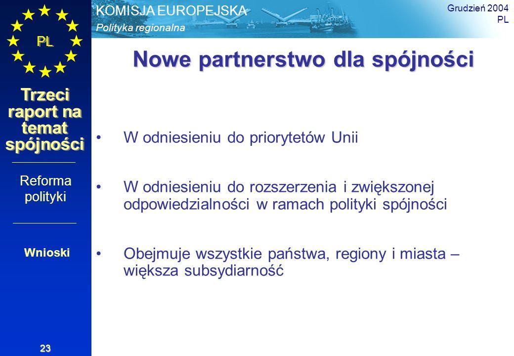 Polityka regionalna KOMISJA EUROPEJSKA PL Trzeci raport na temat spójności Grudzień 2004 PL 23 Nowe partnerstwo dla spójności W odniesieniu do prioryt