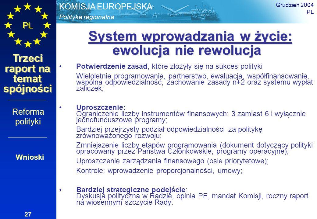 Polityka regionalna KOMISJA EUROPEJSKA PL Trzeci raport na temat spójności Grudzień 2004 PL 27 System wprowadzania w życie: ewolucja nie rewolucja Sys