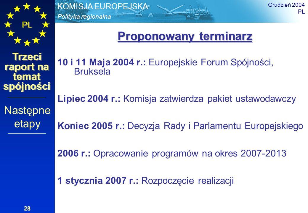 Polityka regionalna KOMISJA EUROPEJSKA PL Trzeci raport na temat spójności Grudzień 2004 PL 28 Proponowany terminarz Proponowany terminarz 10 i 11 Maj
