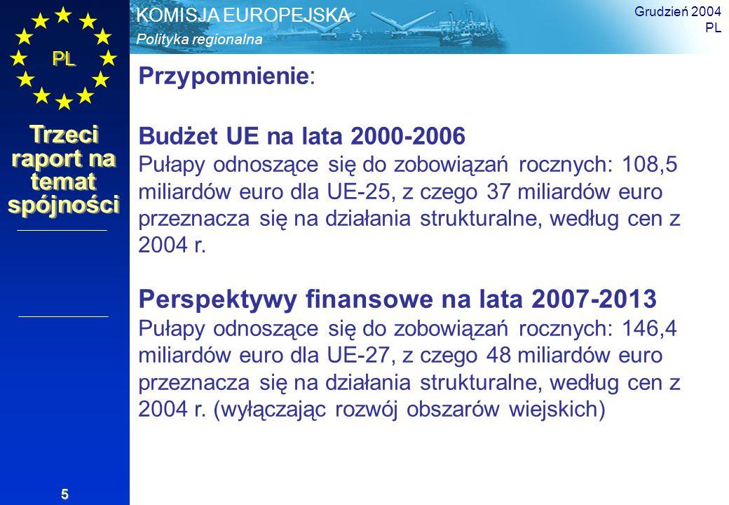 Polityka regionalna KOMISJA EUROPEJSKA PL Trzeci raport na temat spójności Grudzień 2004 PL 5 Przypomnienie: Budżet UE na lata 2000-2006 Pułapy odnosz