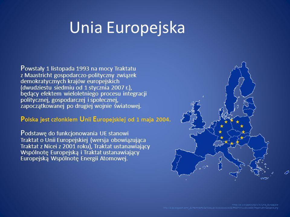 Unia Europejska P owstały 1 listopada 1993 na mocy Traktatu z Maastricht gospodarczo-polityczny związek demokratycznych krajów europejskich (dwudziest