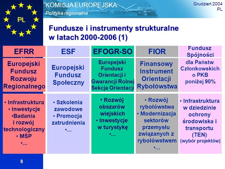 PL Informacje ogólne Polityka regionalna KOMISJA EUROPEJSKA Grudzień 2004 PL 8 Fundusze i instrumenty strukturalne w latach 2000-2006 (1) EFRRESFEFOGR-SOFIOR Europejski Fundusz Rozwoju Regionalnego Europejski Fundusz Społeczny Europejski Fundusz Orientacji i Gwarancji Rolnej Sekcja Orientacji Finansowy Instrument Orientacji Rybołówstwa Infrastruktura Inwestycje Badania i rozwój technologiczny MŚP...