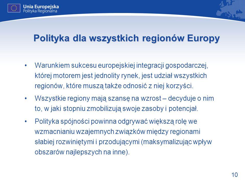10 Polityka dla wszystkich regionów Europy Warunkiem sukcesu europejskiej integracji gospodarczej, której motorem jest jednolity rynek, jest udział ws