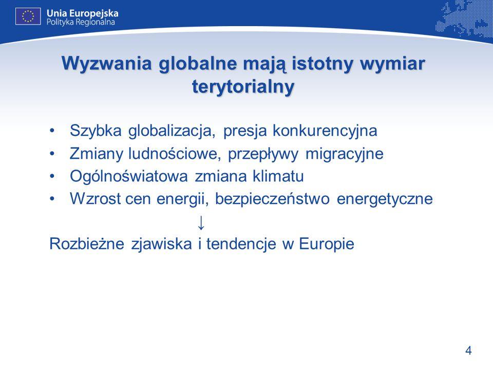 4 Wyzwania globalne mają istotny wymiar terytorialny Szybka globalizacja, presja konkurencyjna Zmiany ludnościowe, przepływy migracyjne Ogólnoświatowa