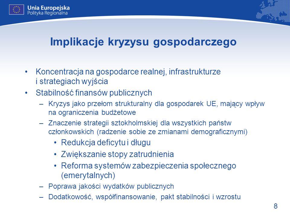 8 Implikacje kryzysu gospodarczego Koncentracja na gospodarce realnej, infrastrukturze i strategiach wyjścia Stabilność finansów publicznych –Kryzys j