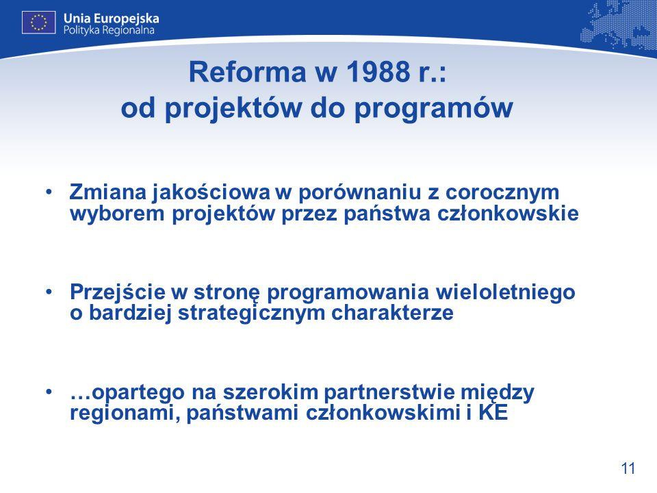 11 Reforma w 1988 r.: od projektów do programów Zmiana jakościowa w porównaniu z corocznym wyborem projektów przez państwa członkowskie Przejście w st