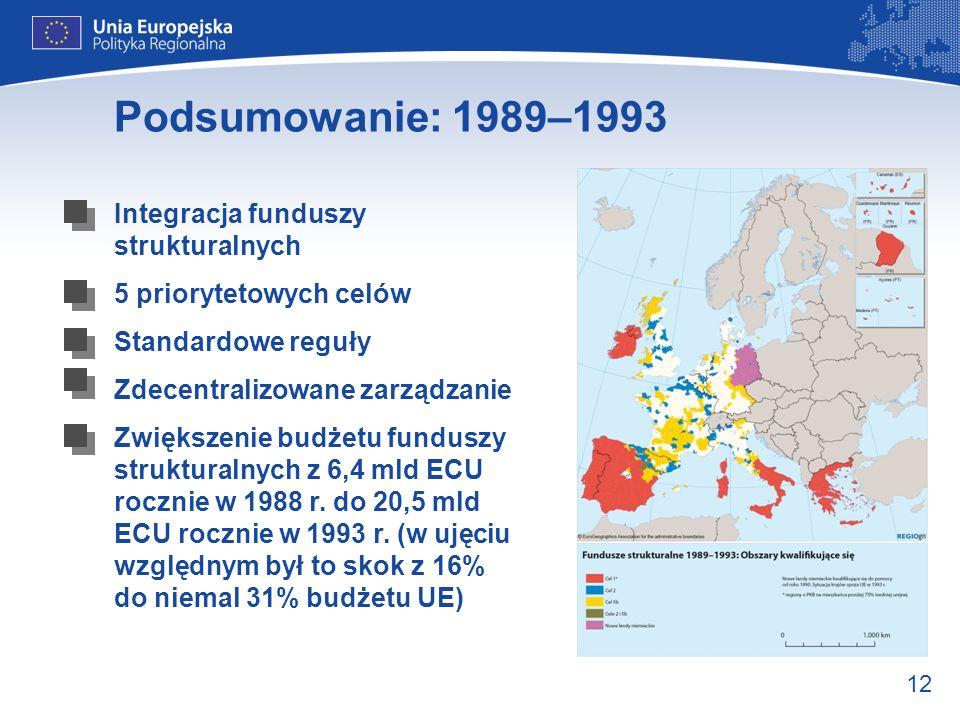 12 Podsumowanie: 1989–1993 Integracja funduszy strukturalnych 5 priorytetowych celów Standardowe reguły Zdecentralizowane zarządzanie Zwiększenie budż