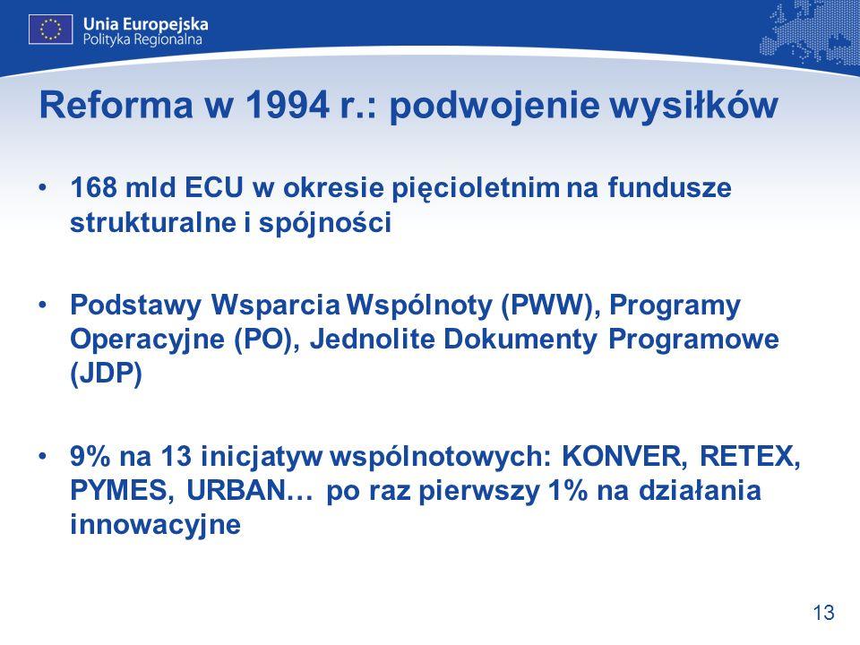 13 Reforma w 1994 r.: podwojenie wysiłków 168 mld ECU w okresie pięcioletnim na fundusze strukturalne i spójności Podstawy Wsparcia Wspólnoty (PWW), P
