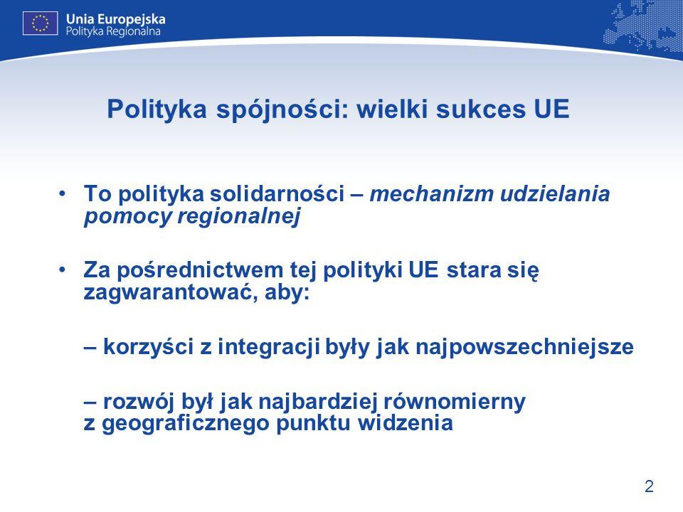 3 Początki polityki spójności UE Reprezentujący pierwszych sześć państw członkowskich ojcowie założyciele UE mieli już wizję, którą zapisano w Traktacie: Wspólnota zmierza do zmniejszenia dysproporcji w poziomach rozwoju różnych regionów Wyznaczyło to kierunek późniejszej polityki…