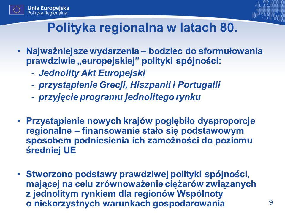 9 Polityka regionalna w latach 80. Najważniejsze wydarzenia – bodziec do sformułowania prawdziwie europejskiej polityki spójności: -Jednolity Akt Euro