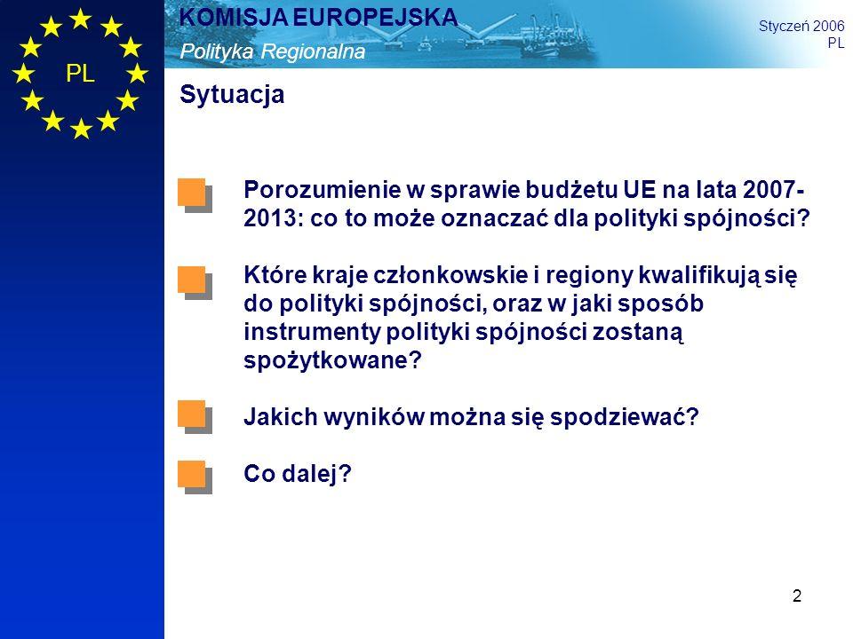 2 Polityka Regionalna KOMISJA EUROPEJSKA Styczeń 2006 PL Sytuacja Porozumienie w sprawie budżetu UE na lata 2007- 2013: co to może oznaczać dla polity