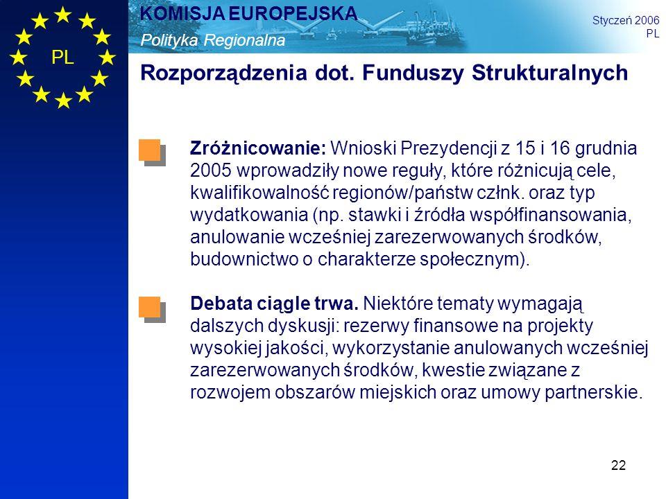 22 Polityka Regionalna KOMISJA EUROPEJSKA Styczeń 2006 PL Rozporządzenia dot. Funduszy Strukturalnych Zróżnicowanie: Wnioski Prezydencji z 15 i 16 gru