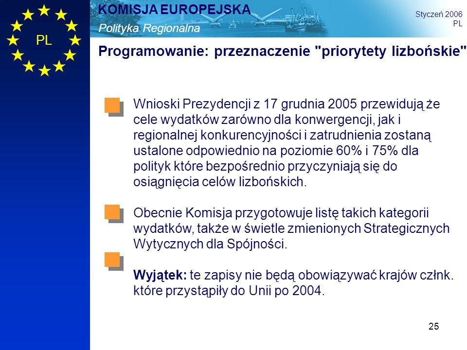 25 Polityka Regionalna KOMISJA EUROPEJSKA Styczeń 2006 PL Programowanie: przeznaczenie