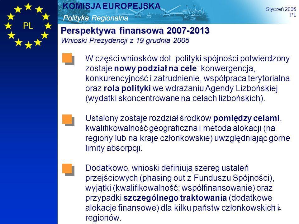 4 Polityka Regionalna KOMISJA EUROPEJSKA Styczeń 2006 PL Perspektywa finansowa 2007-2013 Wnioski Prezydencji z 19 grudnia 2005 W części wniosków dot.