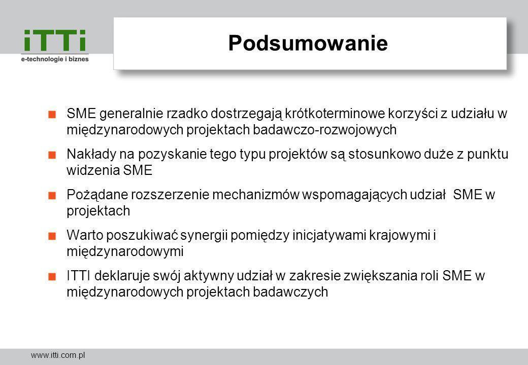 www.itti.com.pl Podsumowanie SME generalnie rzadko dostrzegają krótkoterminowe korzyści z udziału w międzynarodowych projektach badawczo-rozwojowych N