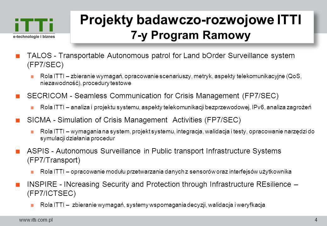www.itti.com.pl Projekty badawczo-rozwojowe ITTI Programy EDA UAV simulation testbed (finansowany przez EDA) Rola ITTI – analiza zapotrzebowania na rozproszone środowisko testowe dla systemów UAV; opracowanie ontologii oraz repozytorium środowisk testowych UAV; projekt sieci teleinformatycznej AUDIS - Acoustic Urban Threat Detector for Improved Surveillance Capabilities (JIP-FP) Rola ITTI – zbieranie wymagań na system, projekt i implementacja modułu eksploatacyjnego dane ATHENA - Asymmetric Threat Environment Analysis (JIP-FP) Rola ITTI – przygotowanie koncepcji federacji modeli, opracowanie modułu IDS, przygotowanie demonstratora CARDINAL - CApability study to investigate the essential man-machine Relationship for improved Decision making IN urbAn miLitary operations (JIP-FP) Rola ITTI – zbieranie wymagań użytkowników, udział w projektowaniu i implementacji aplikacji typu AI, udział w opracowaniu stacji roboczej SIMS - Smart Information for Mission Success (JIP-FP) Rola ITTI – zbieranie wymagań użytkowników, projekt i implementacja ontologii i bazy wiedzy, implementacja platformy integracyjnej