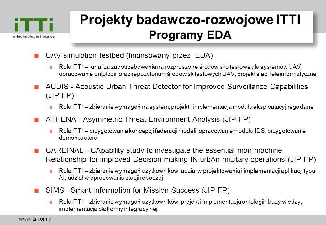 www.itti.com.pl Projekty badawczo-rozwojowe ITTI Programy EDA UAV simulation testbed (finansowany przez EDA) Rola ITTI – analiza zapotrzebowania na ro