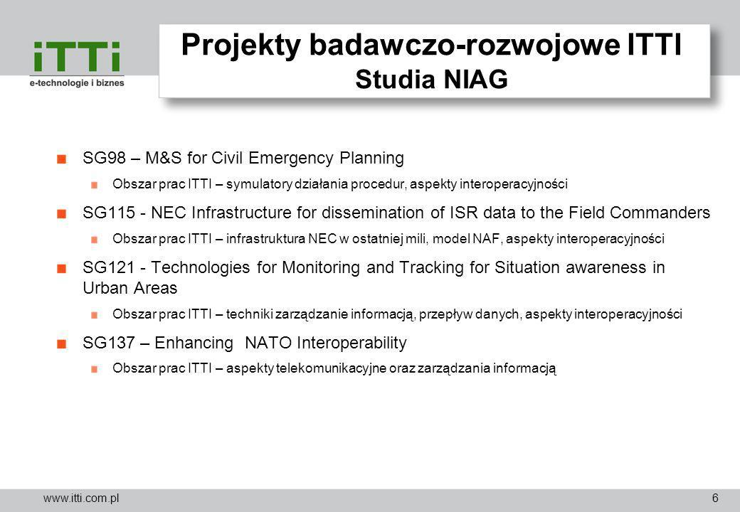 www.itti.com.pl Projekty badawczo-rozwojowe ITTI Studia NIAG SG98 – M&S for Civil Emergency Planning Obszar prac ITTI – symulatory działania procedur,