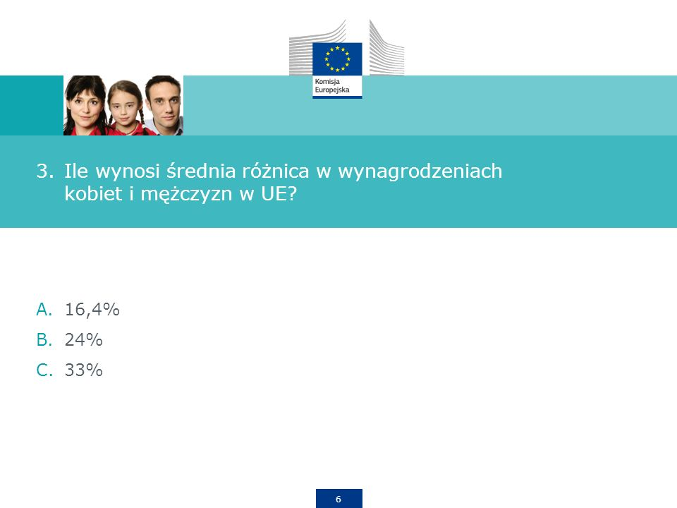 6 3.Ile wynosi średnia różnica w wynagrodzeniach kobiet i mężczyzn w UE A.16,4% B.24% C.33%