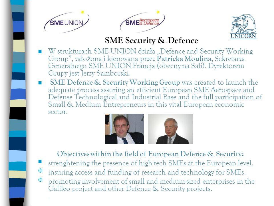 SME Security & Defence n W strukturach SME UNION dzia ł a Defence and Security Working Group, za ł o ż ona i kierowana przez Patricka Moulina, Sekreta