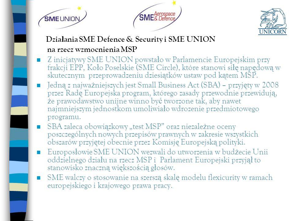 Dzia ł ania SME Defence & Security i SME UNION na rzecz wzmocnienia MSP n Z inicjatywy SME UNION powsta ł o w Parlamencie Europejskim przy frakcji EPP