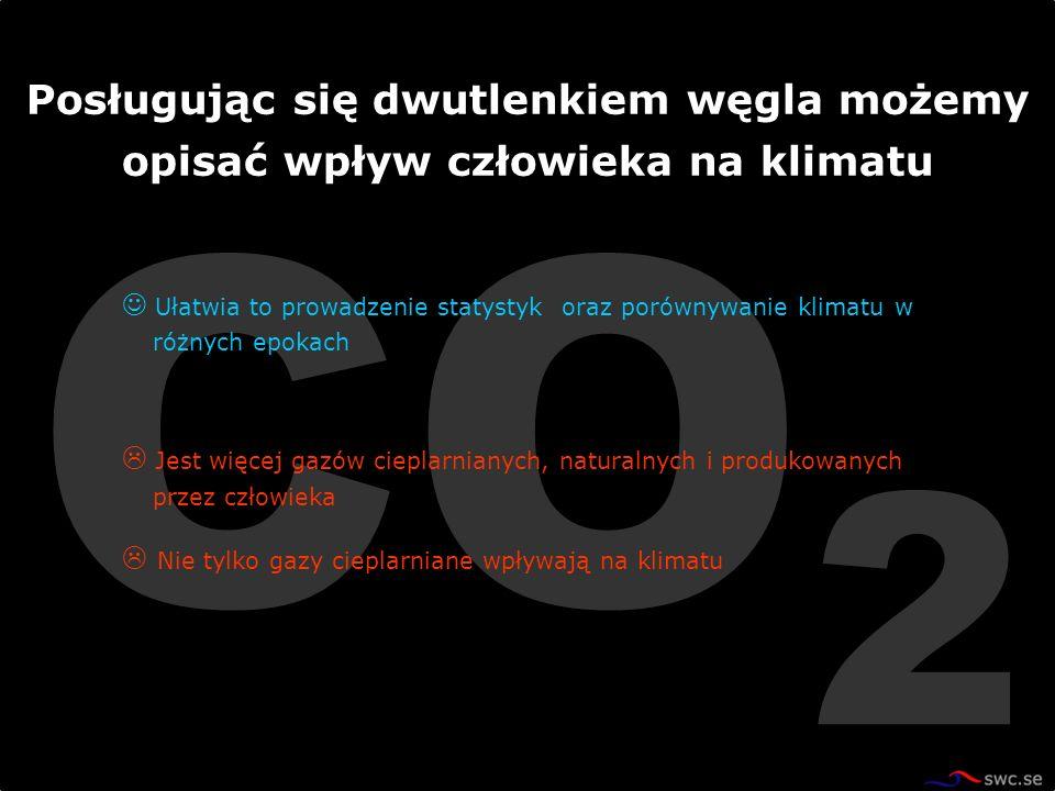 CO 2 Ułatwia to prowadzenie statystyk oraz porównywanie klimatu w różnych epokach Jest więcej gazów cieplarnianych, naturalnych i produkowanych przez