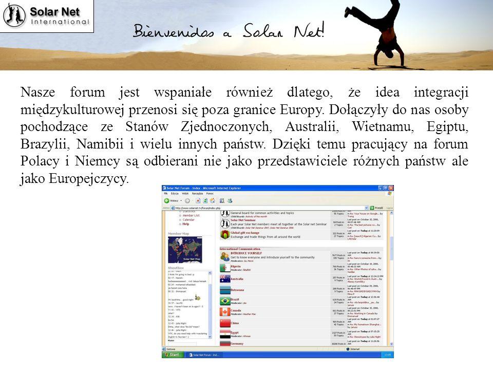 Solar Net International Nasze forum jest wspaniałe również dlatego, że idea integracji międzykulturowej przenosi się poza granice Europy.